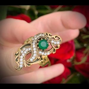 Vintage Floating Emerald Heart Solid Silver Ring